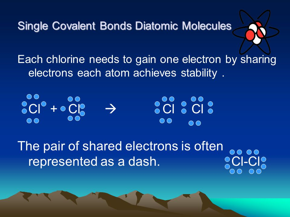 Single Covalent Bonds Diatomic Molecules Each chlorine needs to gain one electron by sharing electrons each atom achieves stability.