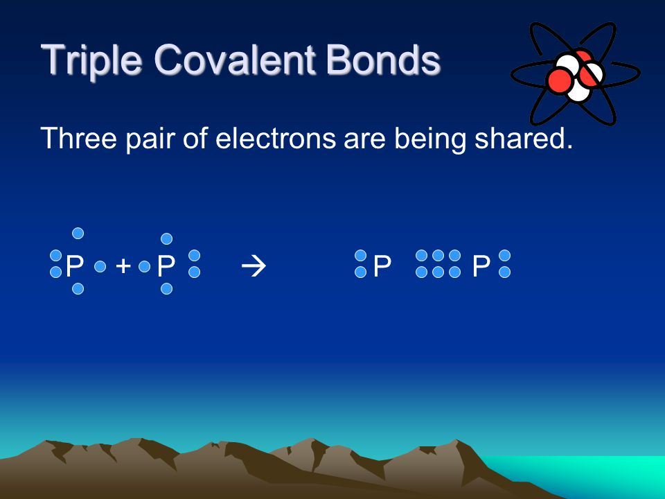 Triple Covalent Bonds Three pair of electrons are being shared. P + P  P P