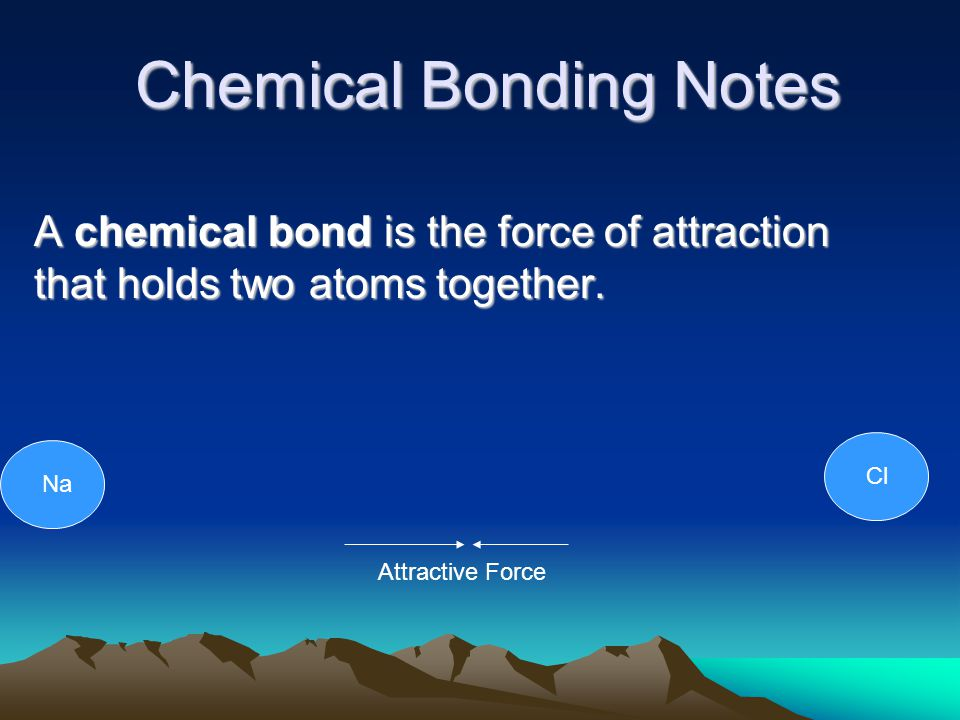 Chemical Bonding Notes A chemical bond is the force of attraction that holds two atoms together.