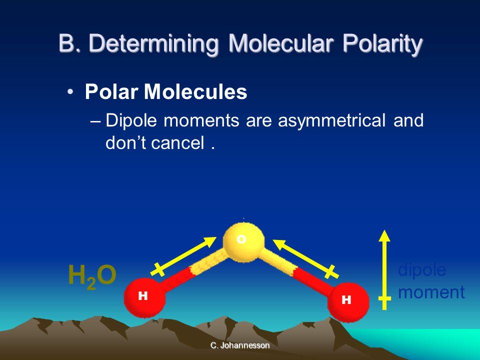C. Johannesson B. Determining Molecular Polarity Polar Molecules –Dipole moments are asymmetrical and don't cancel. net dipole moment H2OH2O H H O