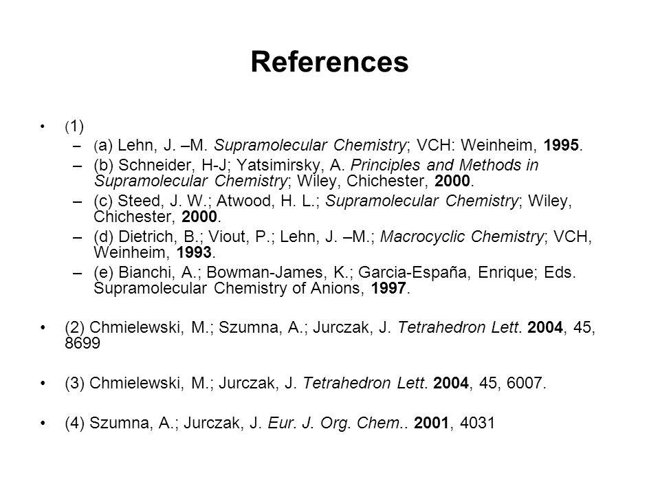 References ( 1) –( a) Lehn, J. –M. Supramolecular Chemistry; VCH: Weinheim, 1995. –(b) Schneider, H-J; Yatsimirsky, A. Principles and Methods in Supra