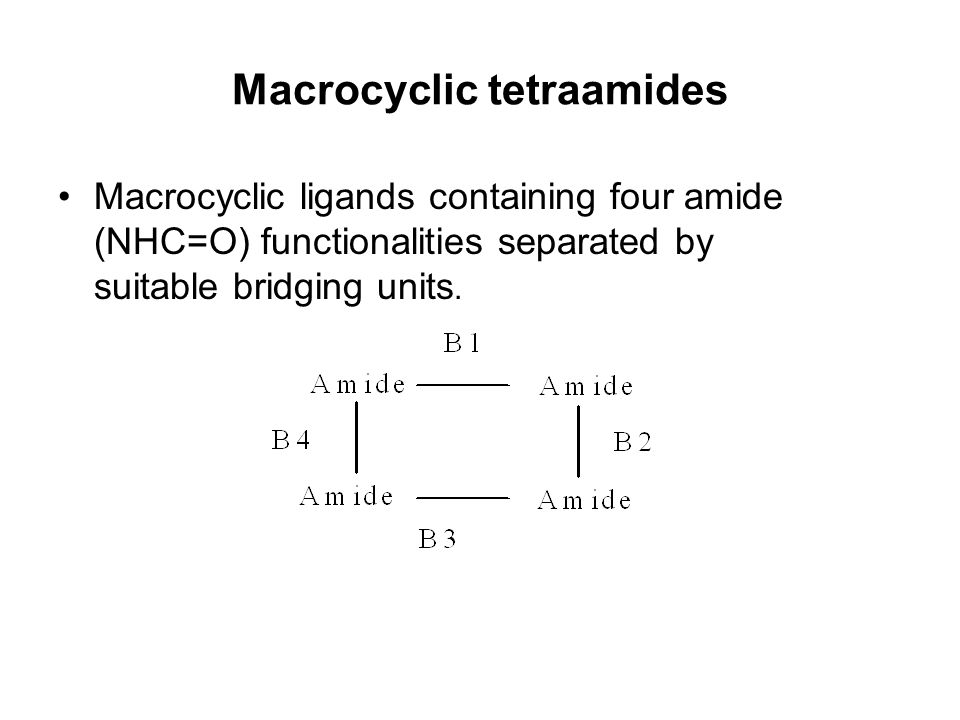 Macrocyclic tetraamides Macrocyclic ligands containing four amide (NHC=O) functionalities separated by suitable bridging units.