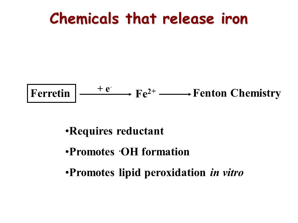 Chemicals that release iron Ferretin Fe 2+ Fenton Chemistry + e - Requires reductant Promotes.