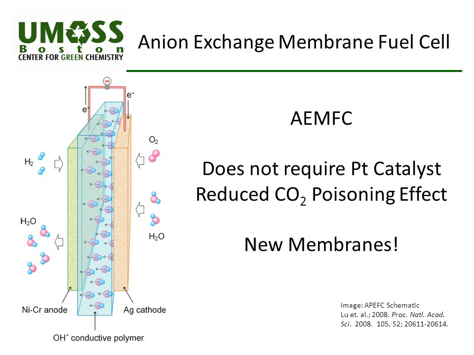 Image: APEFC Schematic Lu et. al.; 2008. Proc. Natl. Acad. Sci. 2008. 105, 52; 20611-20614. Anion Exchange Membrane Fuel Cell AEMFC Does not require P