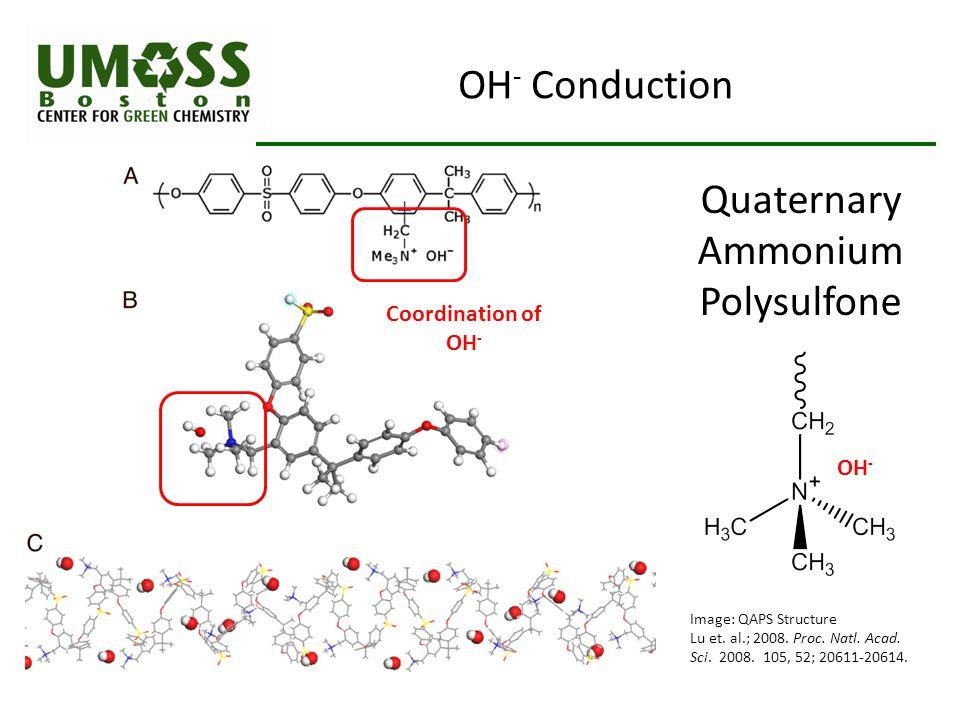 OH - Conduction Image: QAPS Structure Lu et. al.; 2008. Proc. Natl. Acad. Sci. 2008. 105, 52; 20611-20614. Quaternary Ammonium Polysulfone Coordinatio