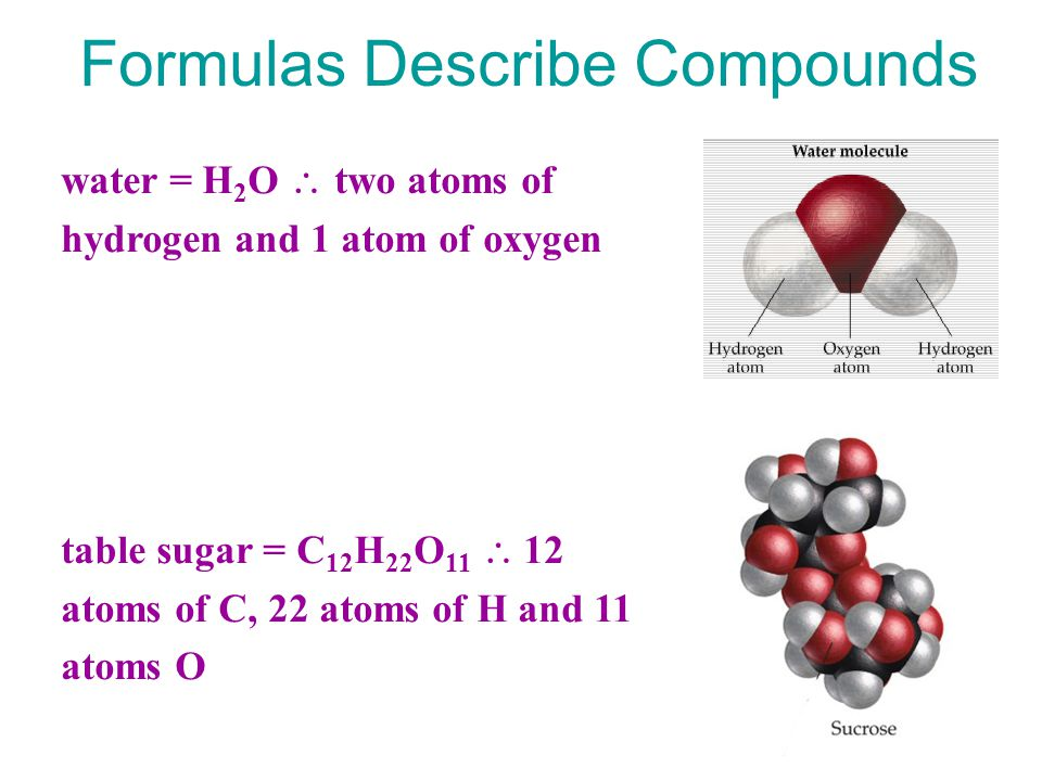 Formulas Describe Compounds water = H 2 O  two atoms of hydrogen and 1 atom of oxygen table sugar = C 12 H 22 O 11  12 atoms of C, 22 atoms of H and 11 atoms O