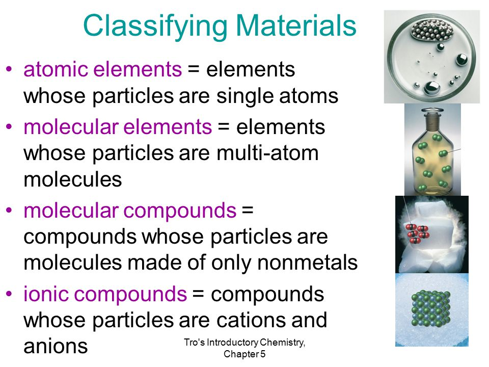 Tro s Introductory Chemistry, Chapter 5 Classifying Materials atomic elements = elements whose particles are single atoms molecular elements = elements whose particles are multi-atom molecules molecular compounds = compounds whose particles are molecules made of only nonmetals ionic compounds = compounds whose particles are cations and anions