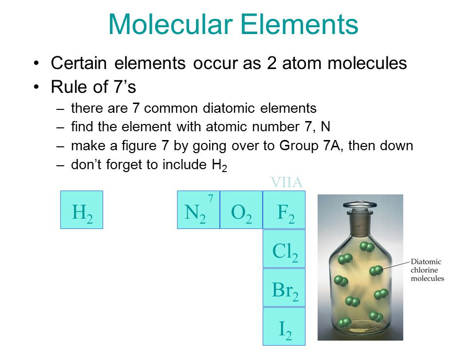 17 Molecular Elements Certain elements occur as 2 atom molecules Rule of 7's –there are 7 common diatomic elements –find the element with atomic number 7, N –make a figure 7 by going over to Group 7A, then down –don't forget to include H 2 H2H2 Cl 2 Br 2 I2I2 7 VIIA N 2 O 2 F 2