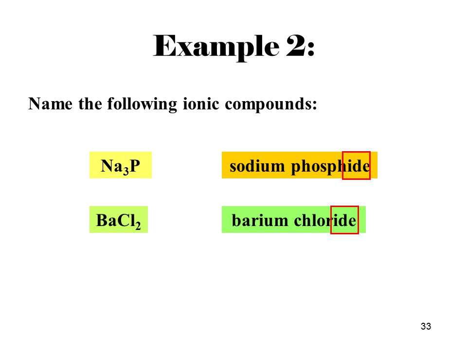 33 Name the following ionic compounds: barium chloride Na 3 Psodium phosphide BaCl 2 Example 2: