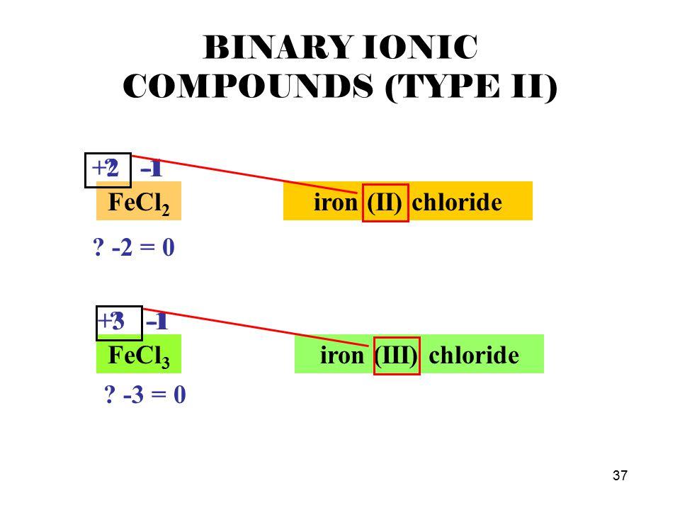 37 BINARY IONIC COMPOUNDS (TYPE II) FeCl 2 .-1 . -2 = 0 +2 -1 iron (II) chloride FeCl 3 .