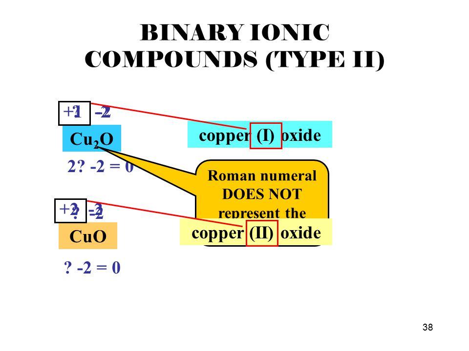 37 BINARY IONIC COMPOUNDS (TYPE II) FeCl 2 ? -1 ? -2 = 0 +2 -1 iron (II) chloride FeCl 3 ? -1 ? -3 = 0 +3 -1 iron (III) chloride