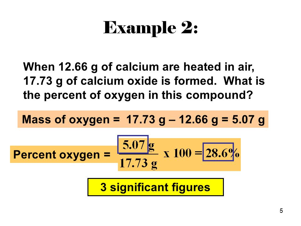 5 When 12.66 g of calcium are heated in air, 17.73 g of calcium oxide is formed.