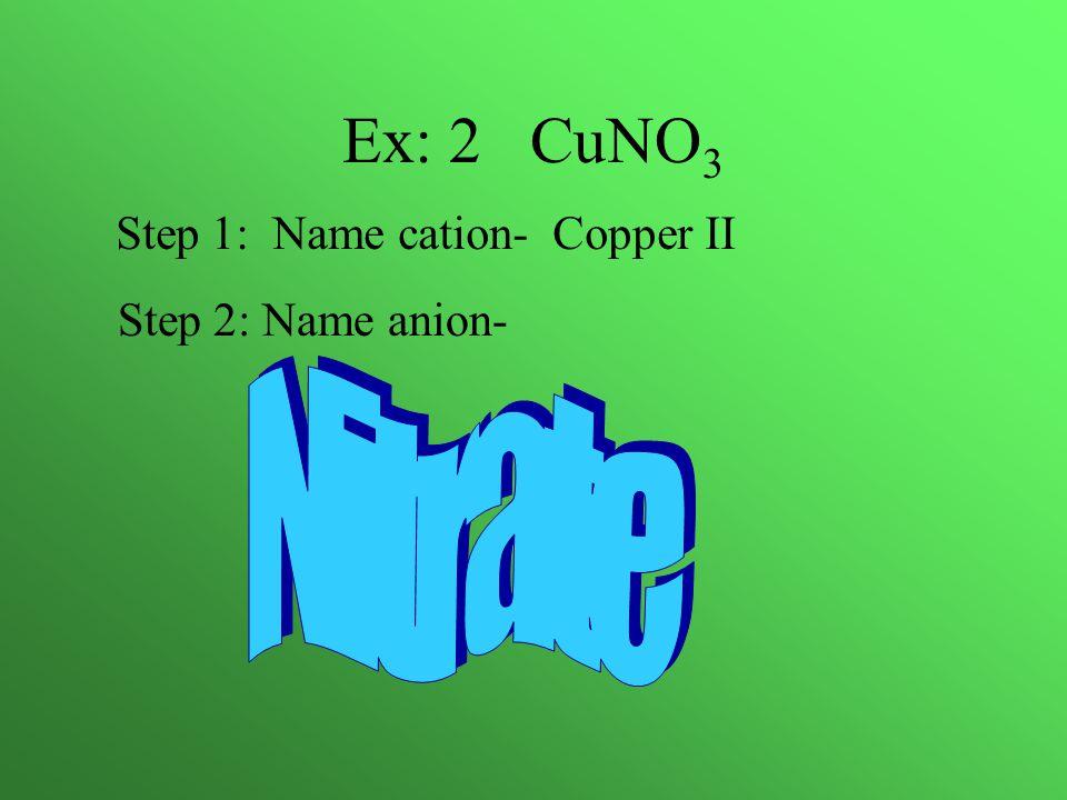 Ex: 2 CuNO 3 Step 1: Name cation- Copper II Step 2: Name anion-