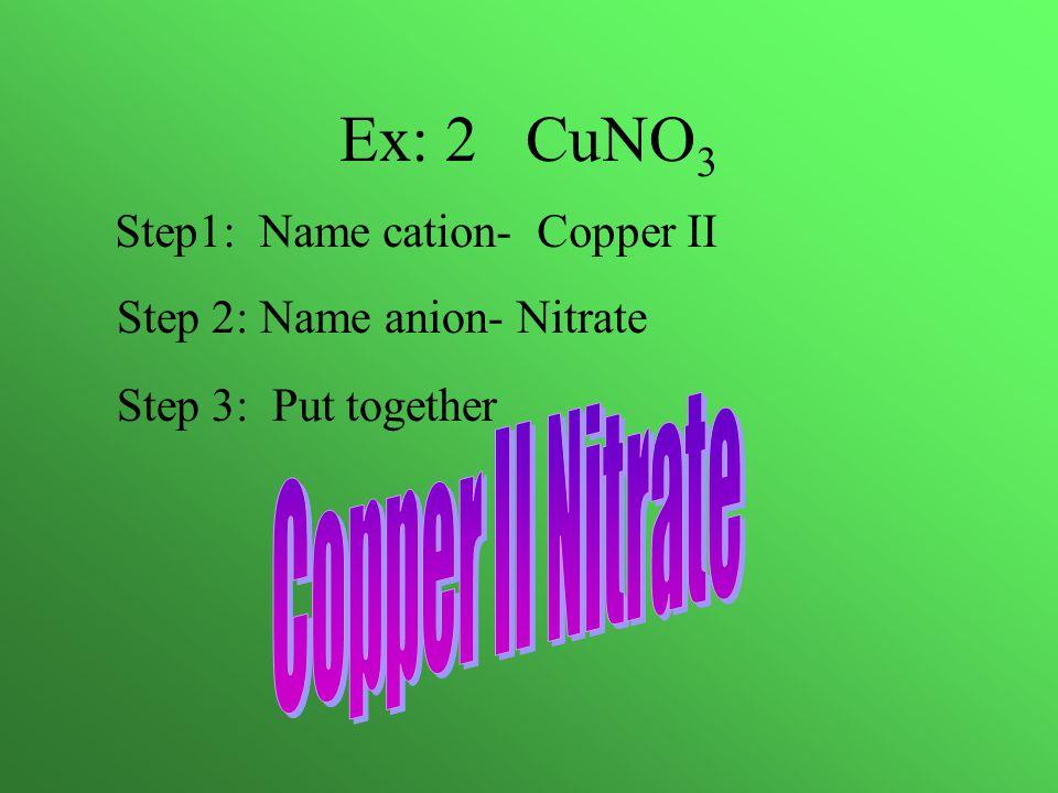 Ex: 2 CuNO 3 Step1: Name cation- Copper II Step 2: Name anion- Nitrate Step 3: Put together