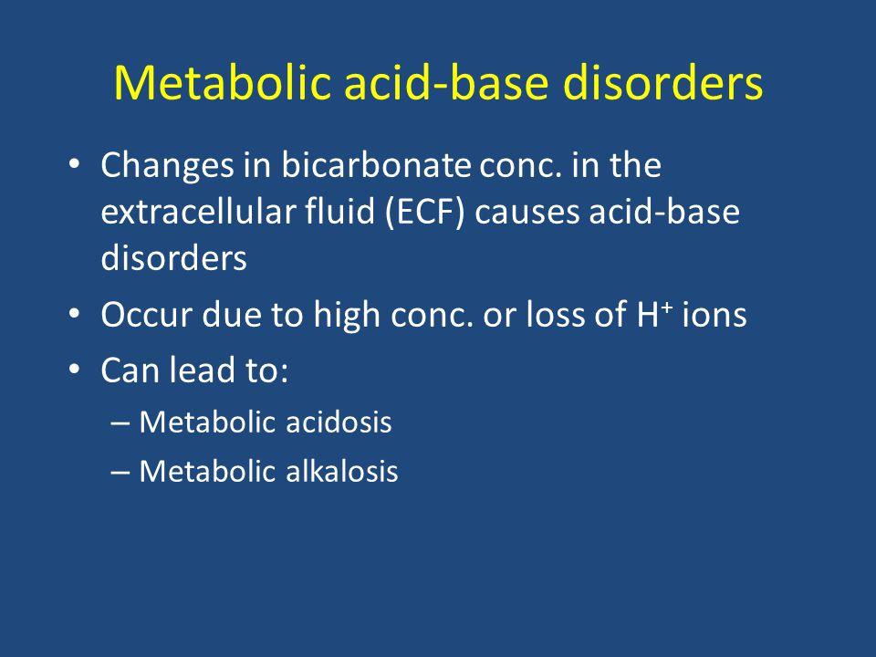 Lactic acidosis Elevated conc.
