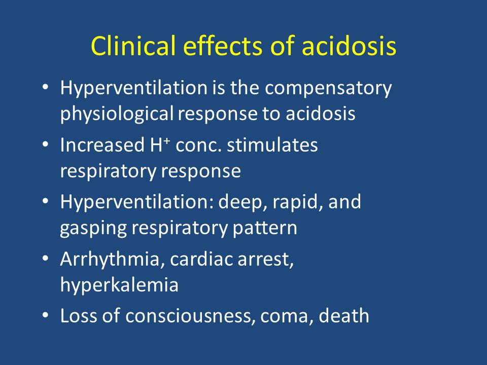 Types and causes of lactic acidosis Type A Due to hypoxia in tissues (most common) Hypoxia causes impaired oxidative phosphorylation and decreased ATP synthesis To survive, the cells switch to anaerobic glycolysis for ATP synthesis This produces lactate as a final product The amount of oxygen required to recover from oxygen deficiency is called oxygen debt