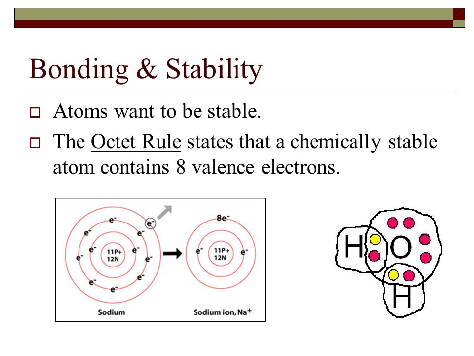 Bonding & Stability  Atoms want to be stable.