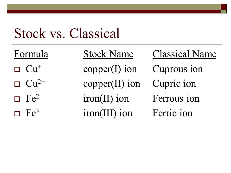 Stock vs.