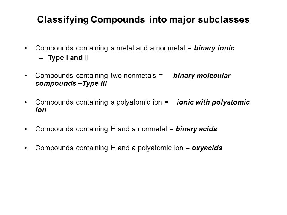 Formula-to-Name Step 3 What major subclass of compound is it.