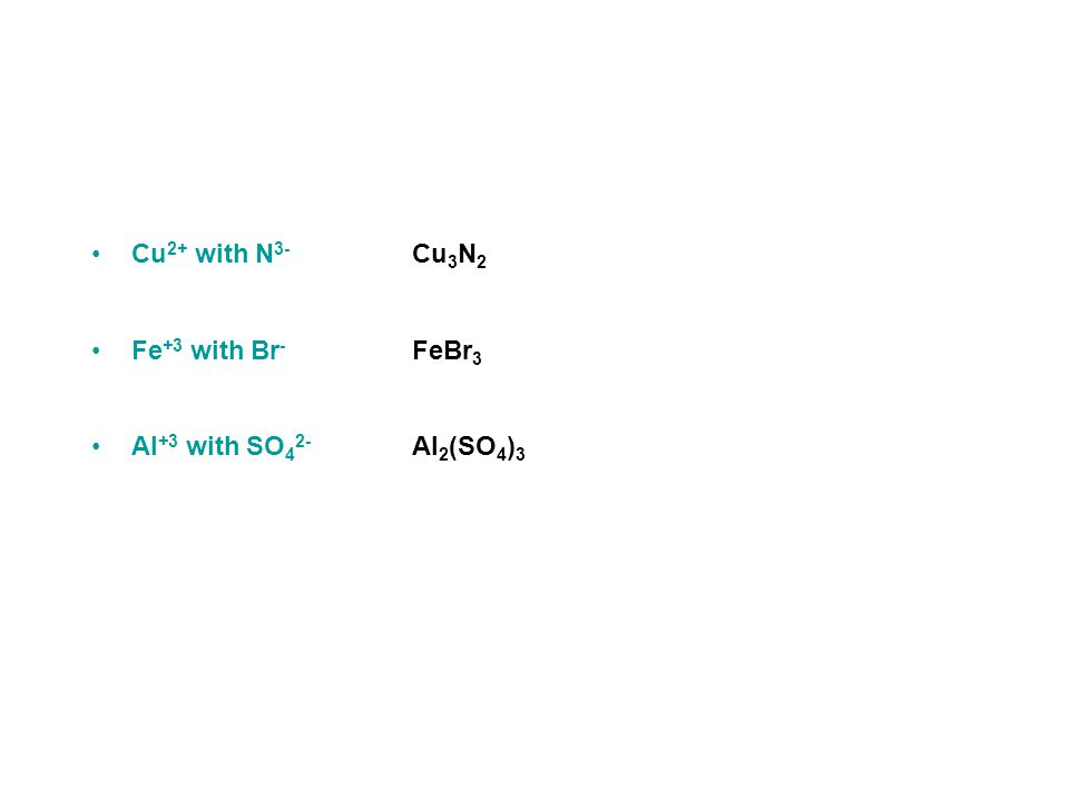 Practice - What are the formulas for compounds made from the following ions.