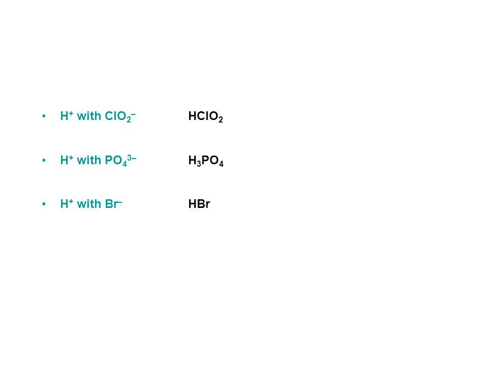 Practice - What are the formulas for the following acids.