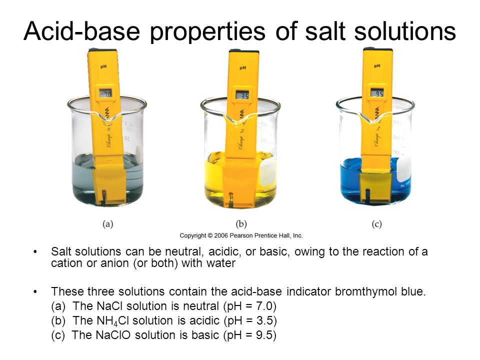 Acid-base properties of salt solutions Salt solutions can be neutral, acidic, or basic, owing to the reaction of a cation or anion (or both) with wate