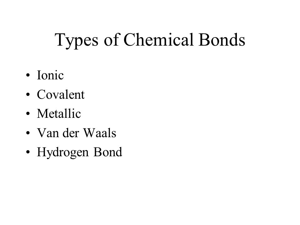 Types of Chemical Bonds Ionic Covalent Metallic Van der Waals Hydrogen Bond