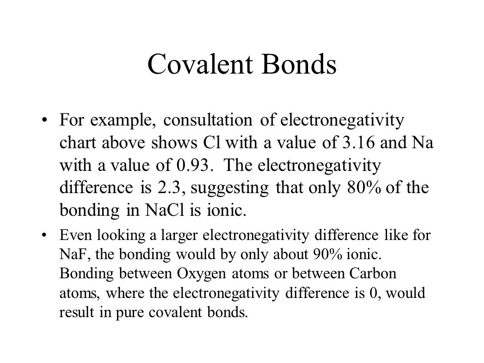Covalent Bonds For example, consultation of electronegativity chart above shows Cl with a value of 3.16 and Na with a value of 0.93.