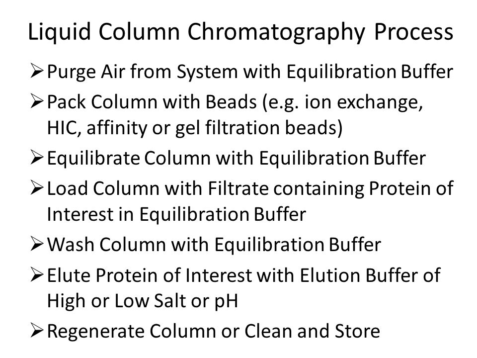 Liquid Column Chromatography Process  Purge Air from System with Equilibration Buffer  Pack Column with Beads (e.g.