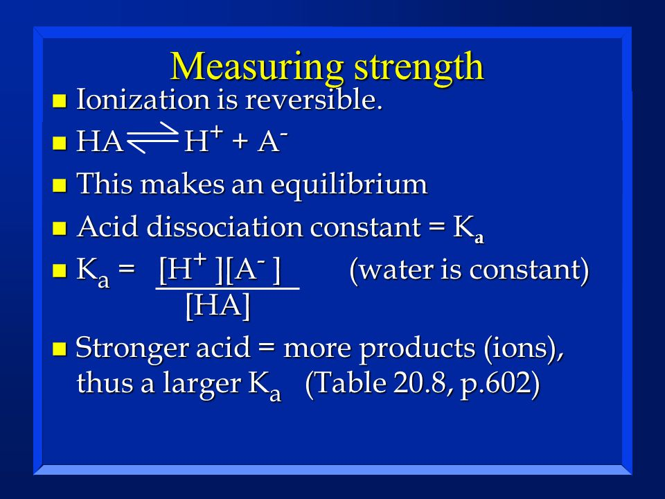Measuring strength n Ionization is reversible. n HAH + + A - n This makes an equilibrium n Acid dissociation constant = K a n K a = [H + ][A - ] (wate