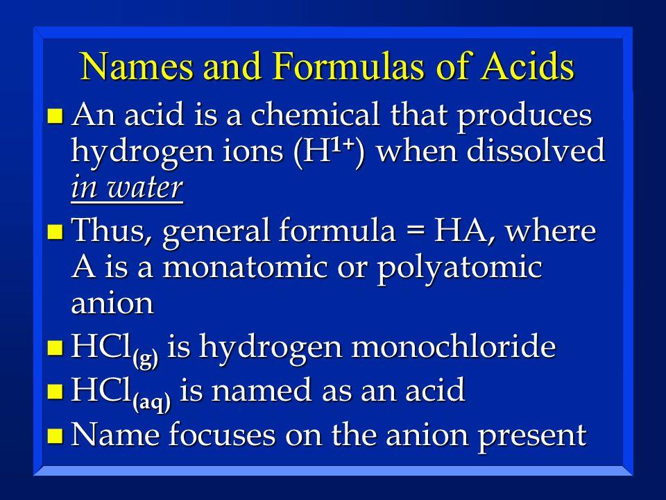 Names and Formulas of Acids 1.