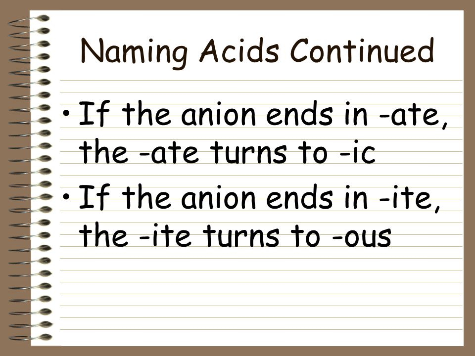 Naming Acids Continued If the anion DOES contain oxygen, the acid name is formed from the root name of the anion with a suffix added