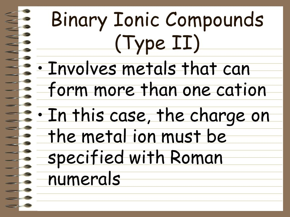 Binary Ionic Compounds (Type I) Practice LiI Lithium Iodide AgBr Silver Bromide KF Potassium Fluoride Li 3 N Lithium Nitride MgO Magnesium Oxide