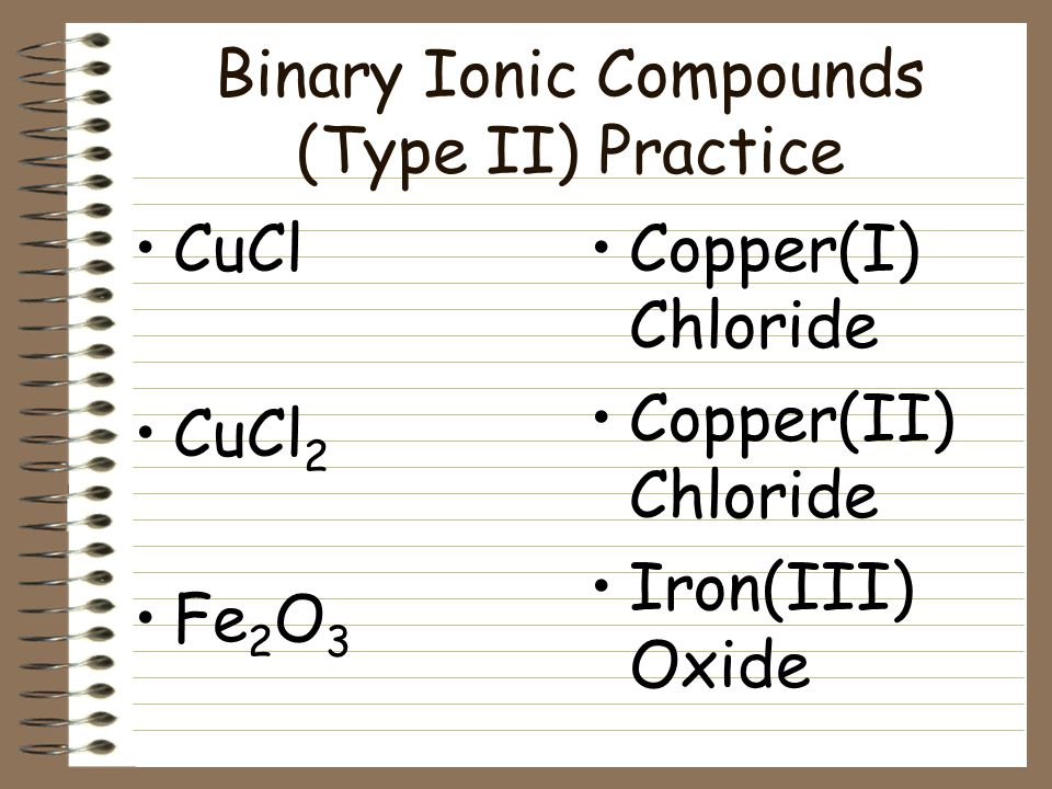Binary Ionic Compounds (Type II) An older system uses the ending -ic on the cation with the higher charge and -ous on the cation with lower charge