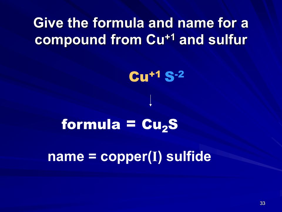 Tro s Introductory Chemistry, Chapter 5 32 Example – Naming Binary Ionic, Type II Metal CuCl 4.
