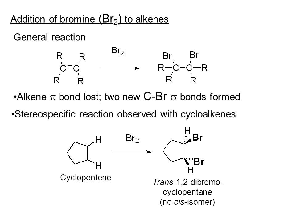 Addition of bromine (Br 2 ) to alkenes General reaction Alkene  bond lost; two new C-Br  bonds formed Stereospecific reaction observed with cycloalkenes Cyclopentene Trans-1,2-dibromo- cyclopentane (no cis-isomer)