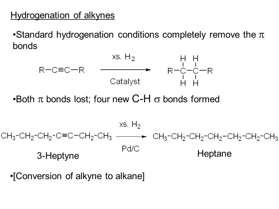 Hydrogenation of alkynes Standard hydrogenation conditions completely remove the  bonds Both  bonds lost; four new C-H  bonds formed 3-Heptyne Heptane [Conversion of alkyne to alkane]