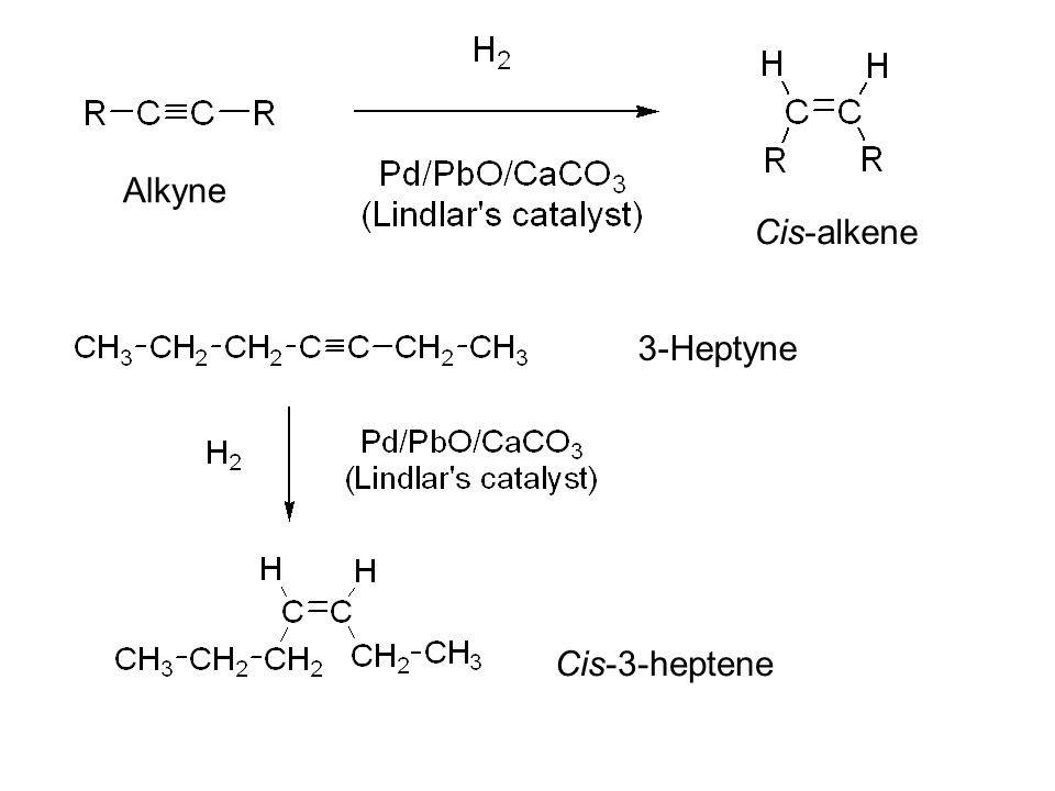 Alkyne Cis-alkene 3-Heptyne Cis-3-heptene