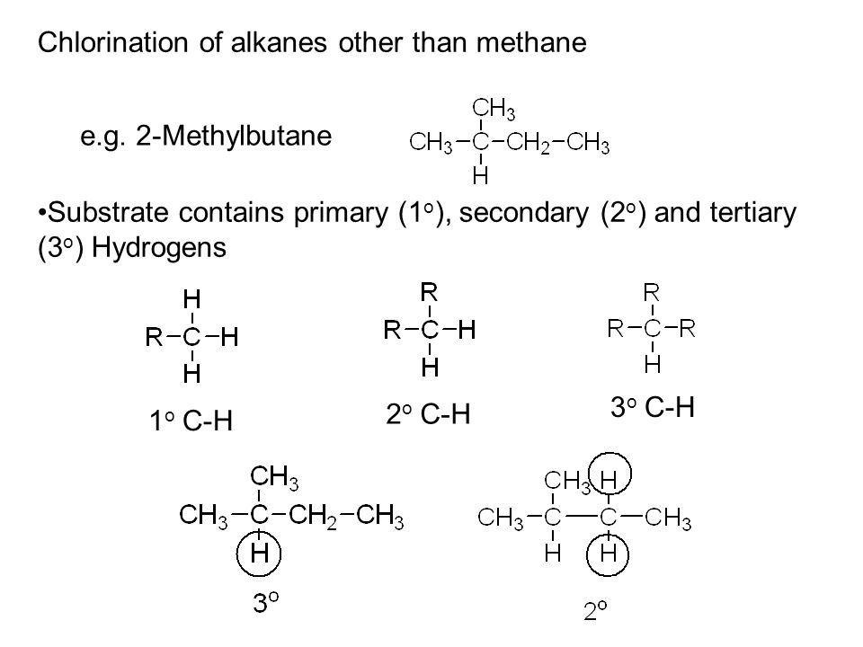 Chlorination of alkanes other than methane e.g.