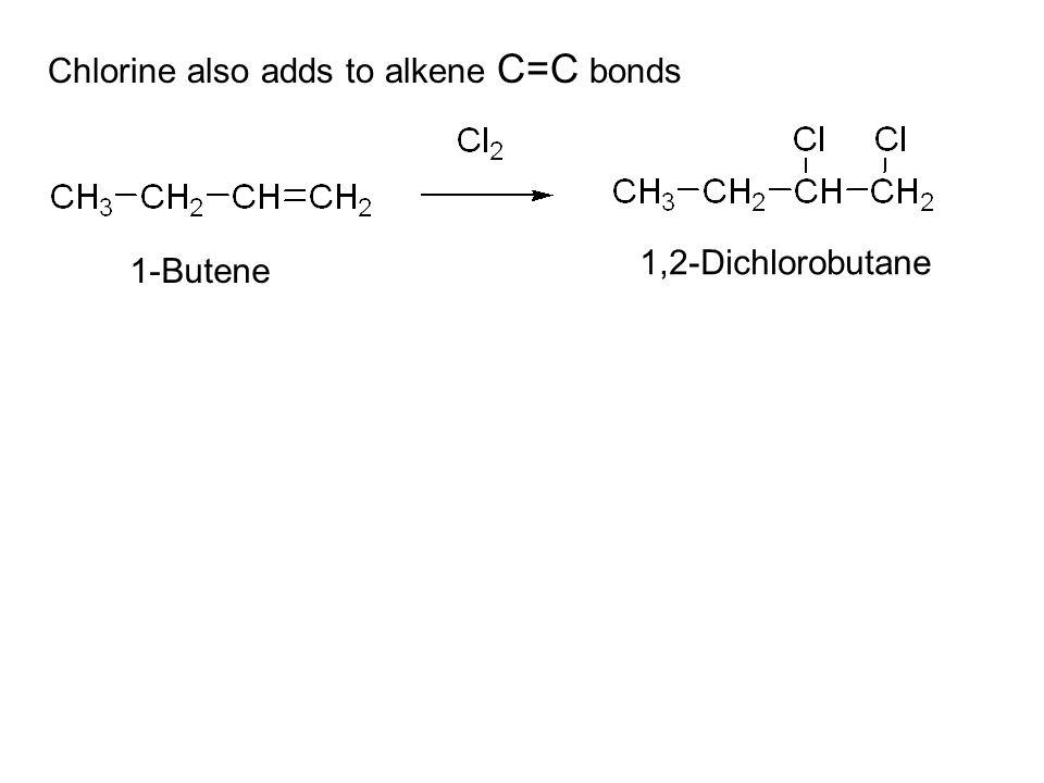 1,2-Dichlorobutane 1-Butene Chlorine also adds to alkene C=C bonds