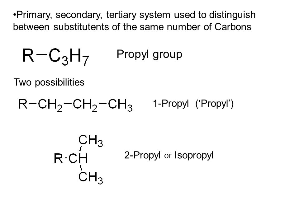 Primary, secondary, tertiary system used to distinguish between substitutents of the same number of Carbons Propyl group Two possibilities 1-Propyl ('Propyl') 2-Propyl or Isopropyl