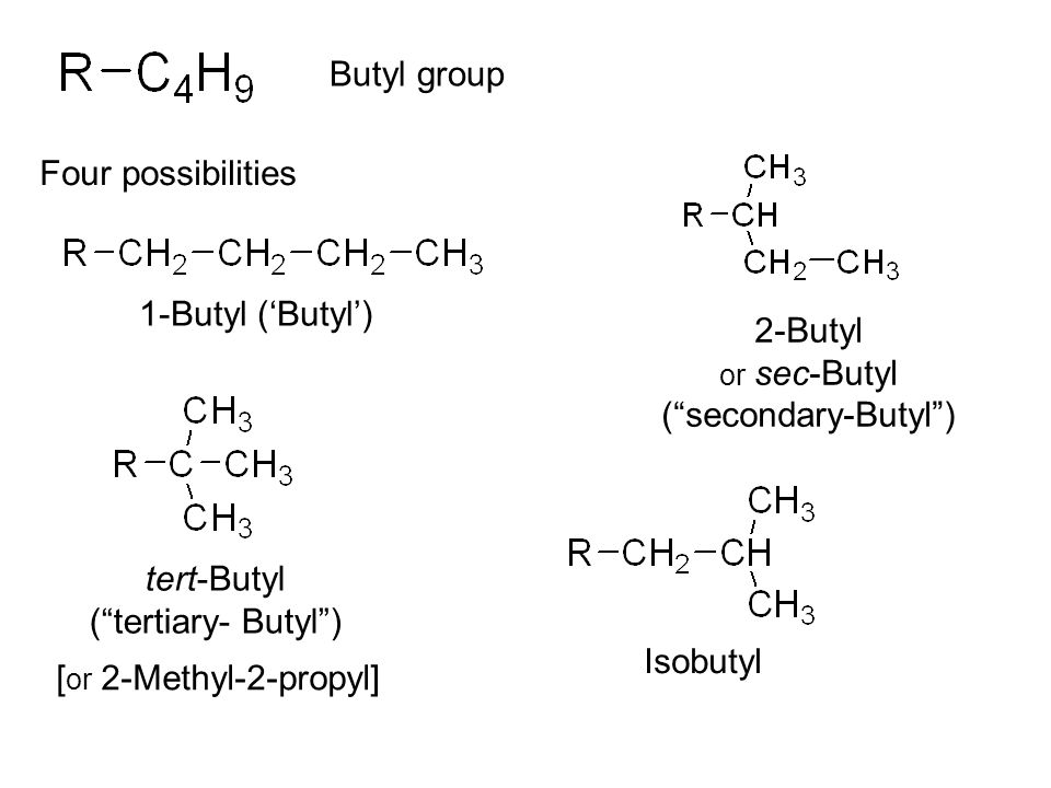 Butyl group Four possibilities 1-Butyl ('Butyl') 2-Butyl or sec-Butyl ( secondary-Butyl ) tert-Butyl ( tertiary- Butyl ) [ or 2-Methyl-2-propyl] Isobutyl