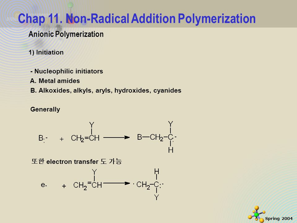 32 Spring 2004 Cationic Polymerization (4)Kinetics Initiation 예 ) styrene, stannic-chloride-H 2 O System [SnCl 4 OH - ]H + Propagation – can have a low activation energy and be rapid or Simple propagation reaction Overall rate of polymerization may actually increase w/ decreasing temperature, means that termination has a high activation energy.