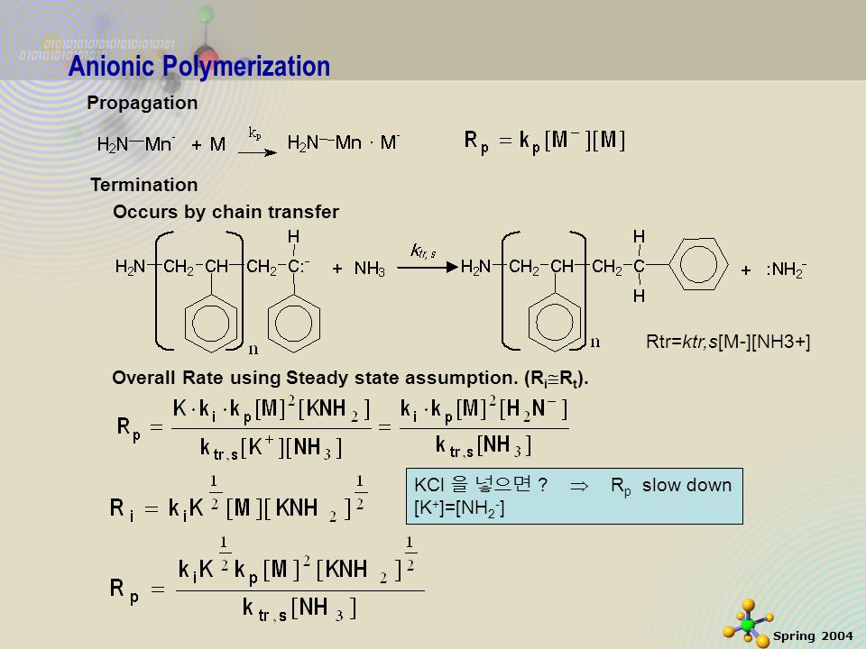 10 Spring 2004 Propagation Anionic Polymerization Termination Occurs by chain transfer Rtr=ktr,s[M-][NH3+] Overall Rate using Steady state assumption.