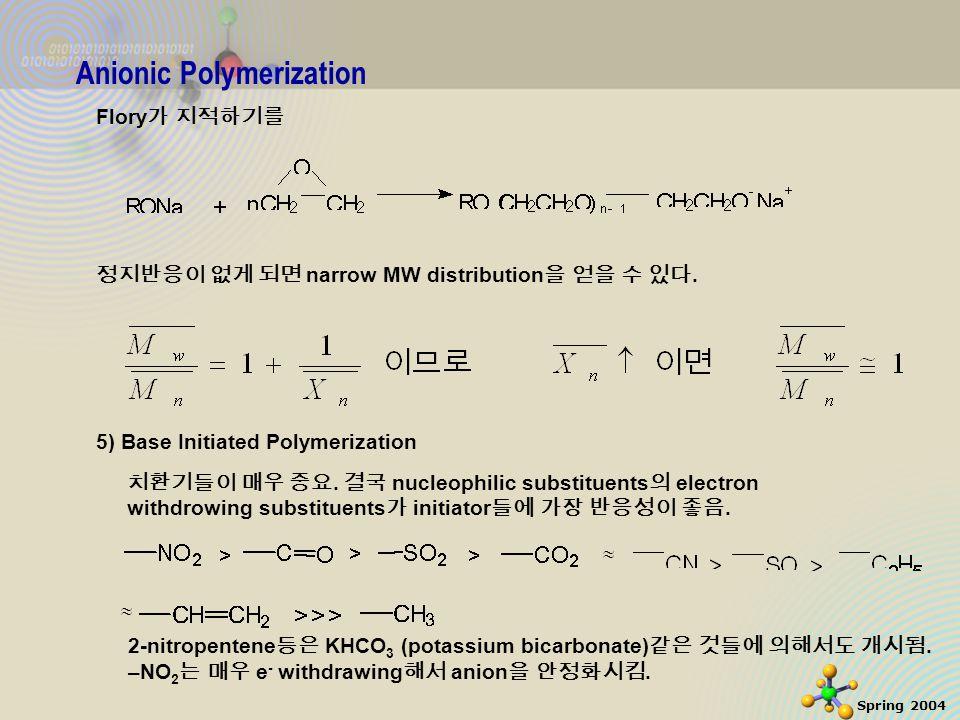 12 Spring 2004 Anionic Polymerization Flory 가 지적하기를 정지반응이 없게 되면 narrow MW distribution 을 얻을 수 있다.