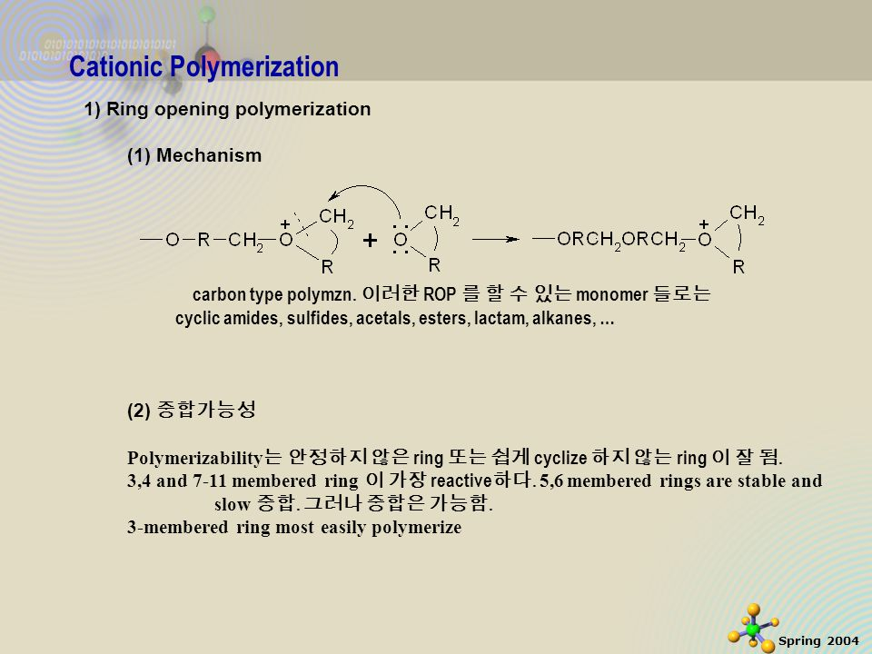 30 Spring 2004 Cationic Polymerization 1) Ring opening polymerization (1) Mechanism carbon type polymzn.