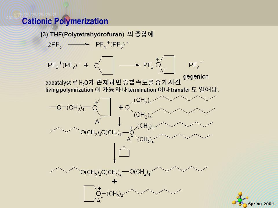 31 Spring 2004 Cationic Polymerization (3) THF(Polytetrahydrofuran) 의 중합예 cocatalyst 로 H 2 O 가 존재하면 중합속도를 증가시킴.