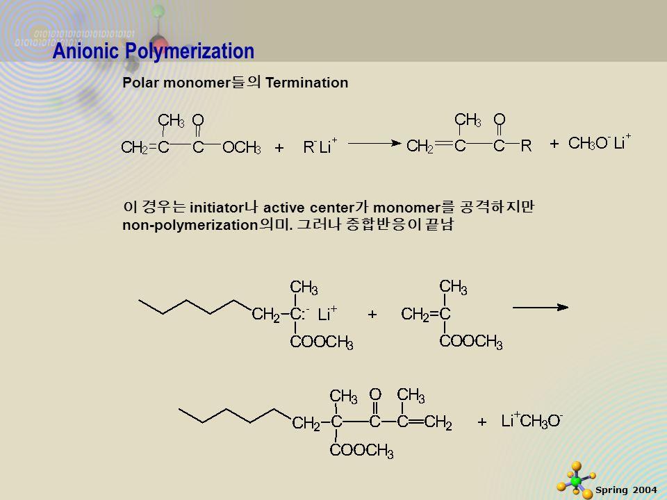 7 Spring 2004 Anionic Polymerization Polar monomer 들의 Termination 이 경우는 initiator 나 active center 가 monomer 를 공격하지만 non-polymerization 의미.