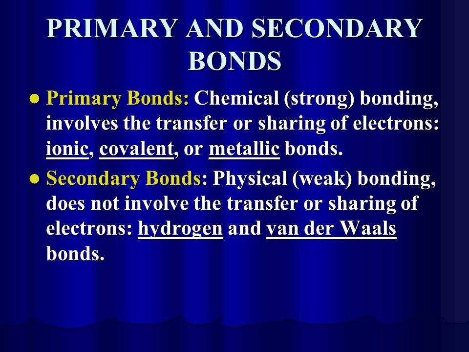 PRIMARY AND SECONDARY BONDS Primary Bonds: Chemical (strong) bonding, involves the transfer or sharing of electrons: ionic, covalent, or metallic bonds.