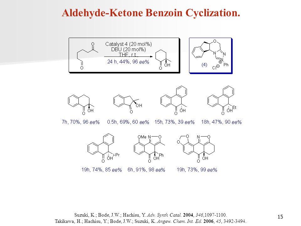 15 Aldehyde-Ketone Benzoin Cyclization. Suzuki, K.; Bode, J.W.; Hachisu, Y. Adv. Synth Catal. 2004, 346,1097-1100. Takikawa, H.; Hachisu, Y.; Bode, J.
